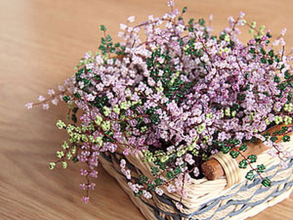 Embroidering a Basket of Heather with Seed Beads | Livemaster - handmade