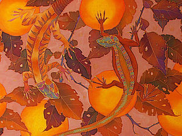 «Апельсины и ящерки»: мастер-класс по холодному батику | Ярмарка Мастеров - ручная работа, handmade