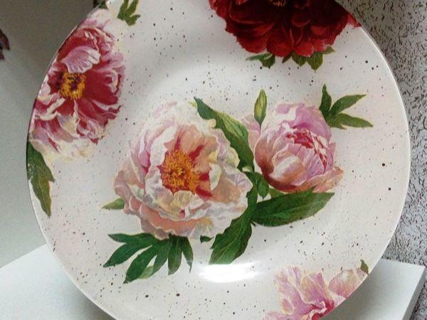 Обратный декупаж на тарелке   Ярмарка Мастеров - ручная работа, handmade
