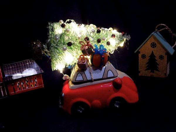 Новогодний декор: рождественская машинка   Ярмарка Мастеров - ручная работа, handmade