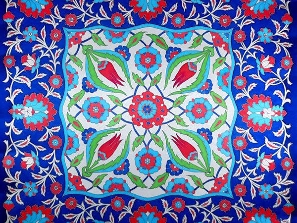 Турецкий орнамент на платке. Роспись шелка в технике холодный батик | Ярмарка Мастеров - ручная работа, handmade