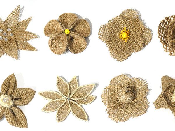 8 простых способов создания цветов из мешковины и джута своими руками | Ярмарка Мастеров - ручная работа, handmade