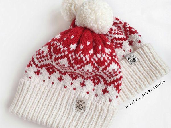Вяжем шапку с жаккардом | Ярмарка Мастеров - ручная работа, handmade