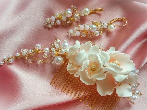 Создаем свадебные украшения из бусин, ювелирной проволоки и фоамирана | Ярмарка Мастеров - ручная работа, handmade