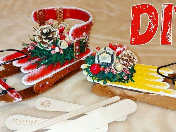 Санки из палочек от мороженого — елочная игрушка   Ярмарка Мастеров - ручная работа, handmade