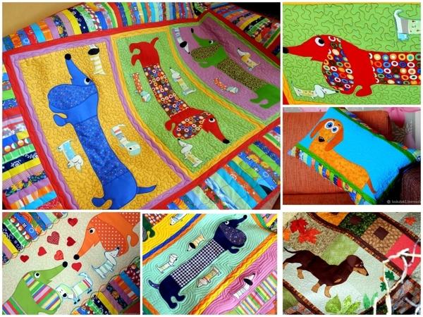 Пэчворк крупным планом! Лоскутное шитье с таксами — лоскутные покрывала, лоскутные одеяла, пледы, подушки и панно — для взрослых и для детей — ТАКСЫ ! | Ярмарка Мастеров - ручная работа, handmade