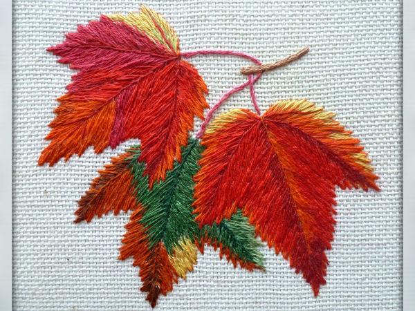 Вышиваем гладью «Осенние листья» | Ярмарка Мастеров - ручная работа, handmade