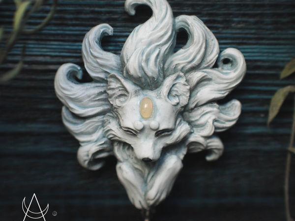 Кицунэ.Кулон ручной работы. Кулон с камнем опал.Полимерная глина   Ярмарка Мастеров - ручная работа, handmade