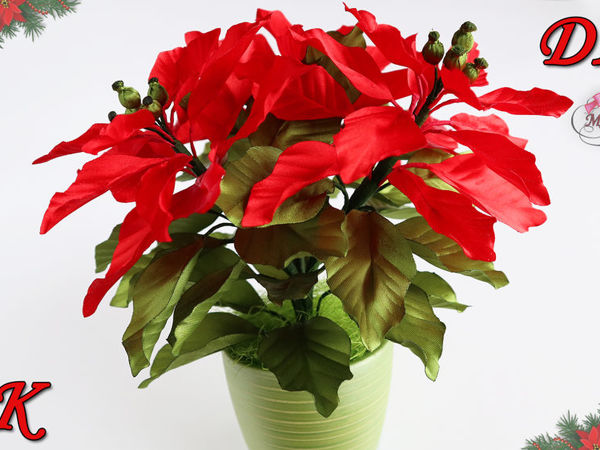 Let's Make Poinsettias of Satin Ribbons in a Pot | Livemaster - handmade