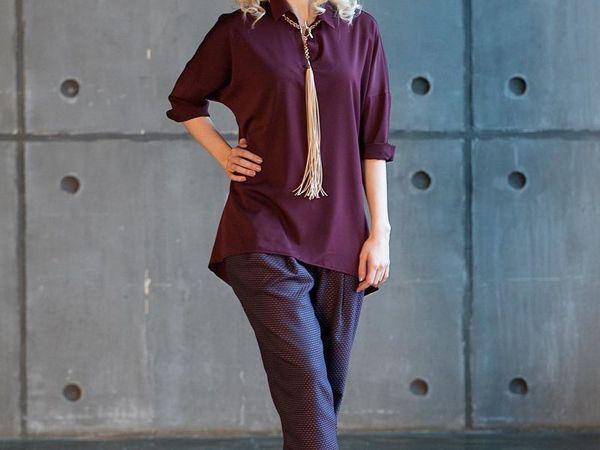 Блузка из вискозы винного цвета и теплые брюки из жаккарда | Ярмарка Мастеров - ручная работа, handmade