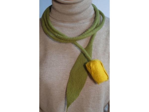 Акция дня! Только сегодня валяный пояс-колье «Желтый тюльпан» по цене 340 рублей | Ярмарка Мастеров - ручная работа, handmade