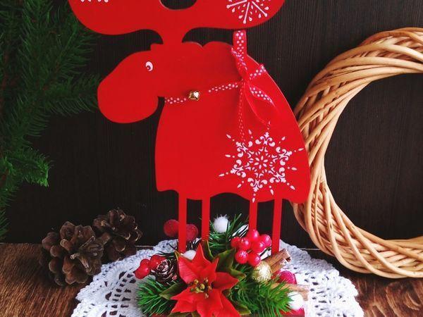 Создаем новогодний декор: фигурка «Лосик» с цветком пуансеттии из полимерной глины | Ярмарка Мастеров - ручная работа, handmade