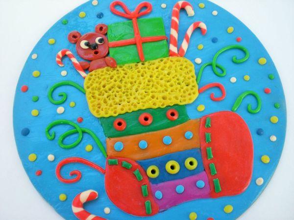 Делаем с детьми панно «Новогодний носочек» | Ярмарка Мастеров - ручная работа, handmade
