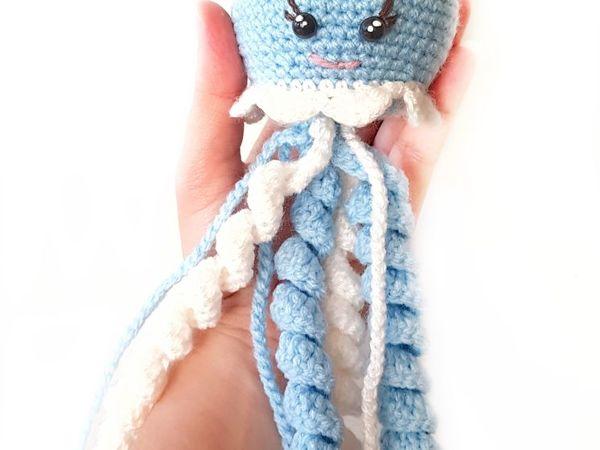Вяжем крючком голубую медузу   Ярмарка Мастеров - ручная работа, handmade