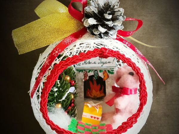 Создаем елочный шар из ниток «Новогоднее чудо» | Ярмарка Мастеров - ручная работа, handmade