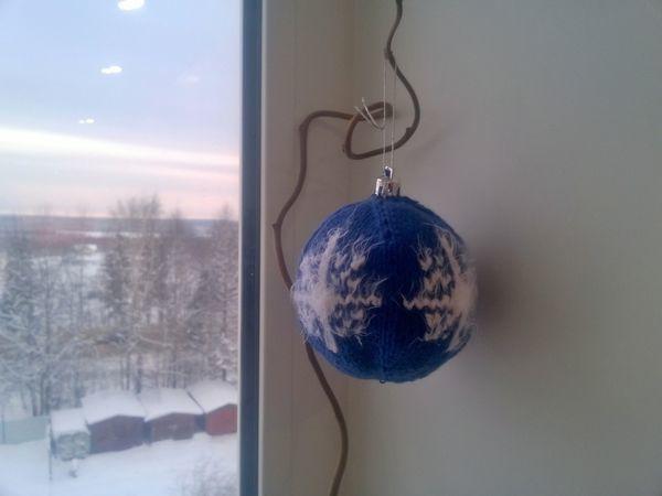 Видеоурок: вяжем елочный шарик спицами   Ярмарка Мастеров - ручная работа, handmade