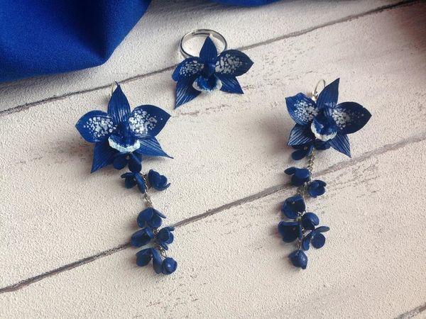 Создаем серьги и кольцо с орхидеей Цимбидиум из фоамирана | Ярмарка Мастеров - ручная работа, handmade