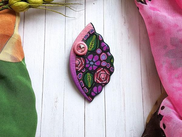 Лепим из полимерной глины брошь с цветочным рисунком   Ярмарка Мастеров - ручная работа, handmade