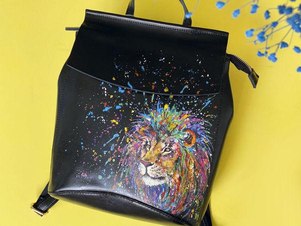 Видео рюкзака с ручной росписью Лев   Ярмарка Мастеров - ручная работа, handmade
