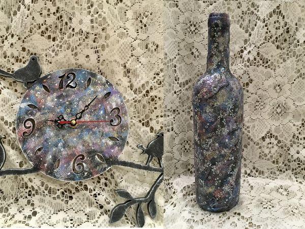 Космический декор бутылки и часов   Ярмарка Мастеров - ручная работа, handmade