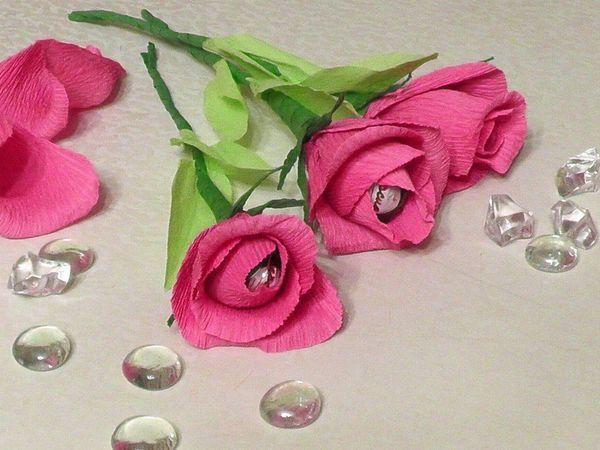 Изготавливаем розу из гофробумаги   Ярмарка Мастеров - ручная работа, handmade