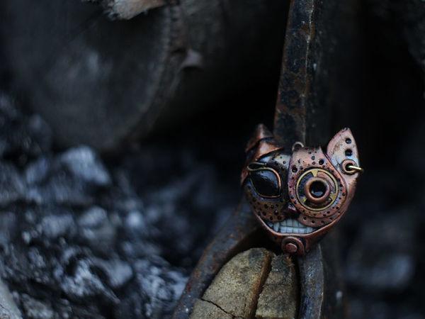 Стимпанк котэ. Кулоны и серьги. | Ярмарка Мастеров - ручная работа, handmade