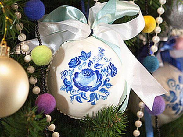 Делаем пряничный новогодний шарик с росписью «Гжель»   Ярмарка Мастеров - ручная работа, handmade