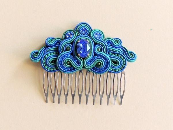 Создаем украшение «Гребень Ундины» с кристаллом Swarovski   Ярмарка Мастеров - ручная работа, handmade