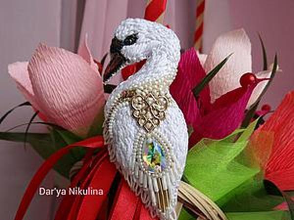Создаем шикарную брошь «Лебедь»   Ярмарка Мастеров - ручная работа, handmade