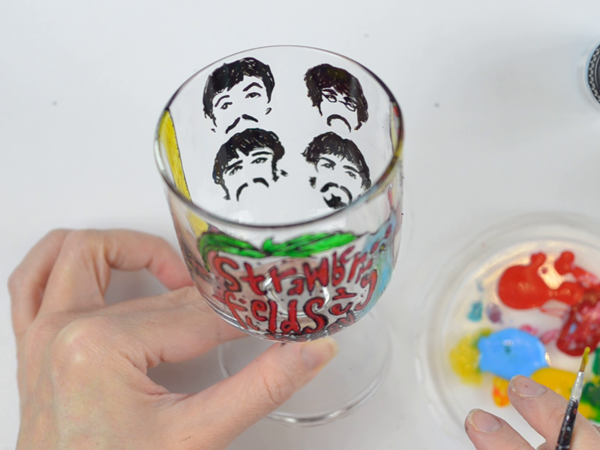 Рисуем Beatles на стеклянном бокале | Ярмарка Мастеров - ручная работа, handmade