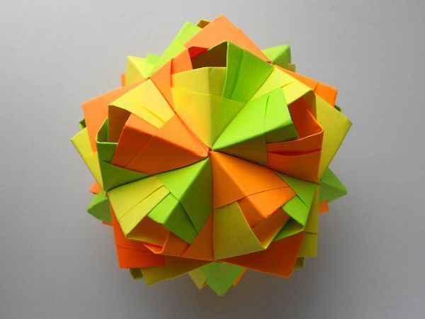 Собираем шар кусудама из бумаги   Ярмарка Мастеров - ручная работа, handmade