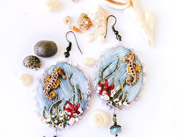 Modeling Textile Earrings with Embroidery   Livemaster - handmade