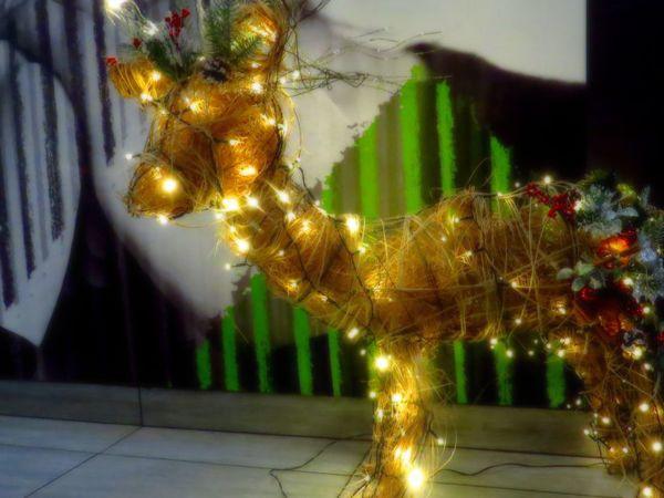 Новогодний декор: делаем светящегося оленя из проволоки без сварки | Ярмарка Мастеров - ручная работа, handmade