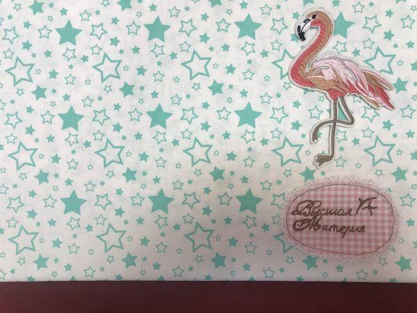 Наши новинки: Поплин Звездопад ментоловый на белом   Ярмарка Мастеров - ручная работа, handmade