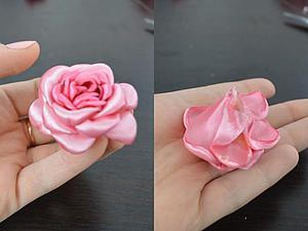 Делаем цветок из атласных лент | Ярмарка Мастеров - ручная работа, handmade
