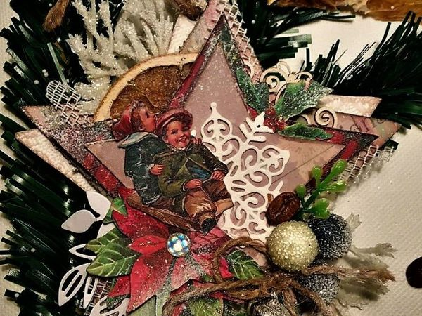 Создаем елочное украшение в винтажном стиле. Рождественская звезда | Ярмарка Мастеров - ручная работа, handmade