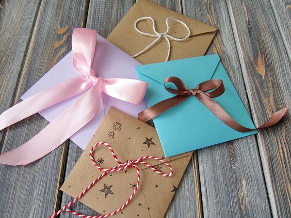 Делаем простой и быстрый квадратный конверт с бантиком   Ярмарка Мастеров - ручная работа, handmade