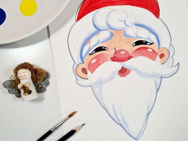 Рисуем с детьми Деда Мороза | Ярмарка Мастеров - ручная работа, handmade