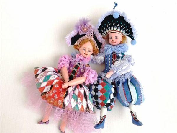 Моя новая работа — Коломбино и Арлекино — куклы болтушки | Ярмарка Мастеров - ручная работа, handmade
