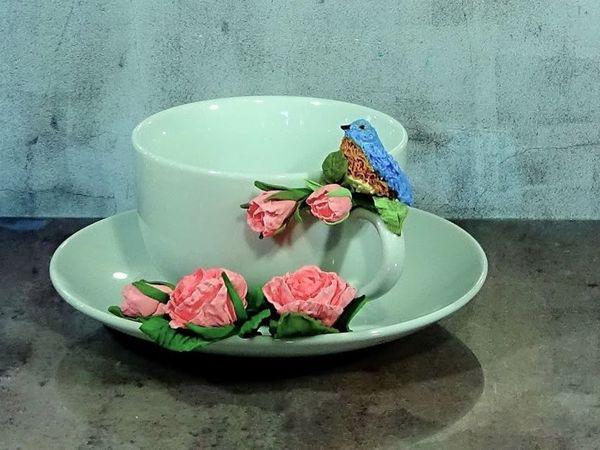 Делаем миниатюрную птичку из полимерной глины. Чайная пара с розами | Ярмарка Мастеров - ручная работа, handmade