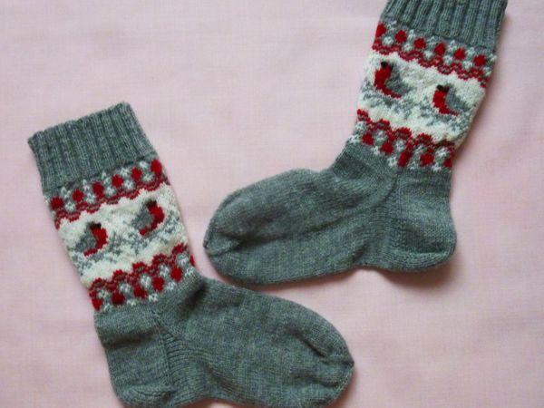 Вяжем носки «Снегири» | Ярмарка Мастеров - ручная работа, handmade