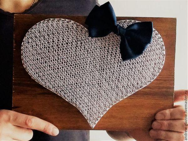 How to Make a String Art Heart   Livemaster - handmade