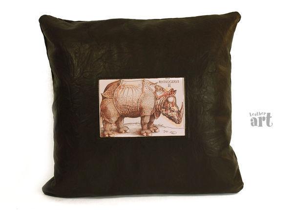 Кожаные подушки   Ярмарка Мастеров - ручная работа, handmade