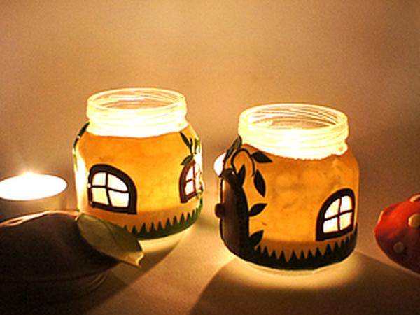 Подсвечники из баночек и полимерной глины | Ярмарка Мастеров - ручная работа, handmade