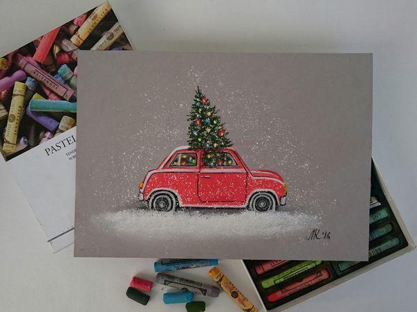 Видео мастер-класс: рисуем сухой пастелью новогоднюю иллюстрацию   Ярмарка Мастеров - ручная работа, handmade