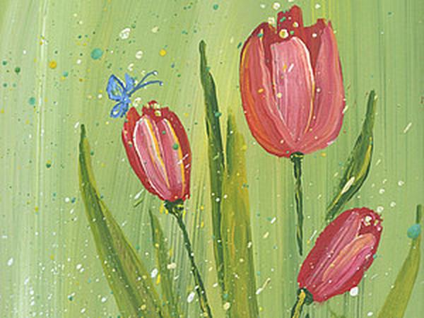 Живопись легко: нежные тюльпаны методом правополушарного рисования | Ярмарка Мастеров - ручная работа, handmade