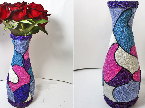 How to Make a Vase of a Bottle with Beads: DIY Video | Livemaster - handmade