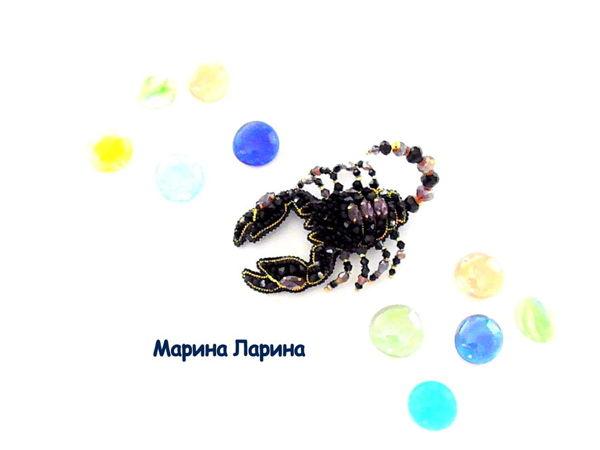 Создаем брошь «Скорпион» из бисера   Ярмарка Мастеров - ручная работа, handmade