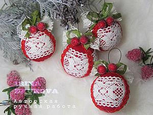 Делаем новогодние шары «Зимняя вишня» | Ярмарка Мастеров - ручная работа, handmade