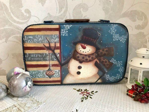 Переделываем старый чемодан в новогодний чемодан для елочных игрушек | Ярмарка Мастеров - ручная работа, handmade